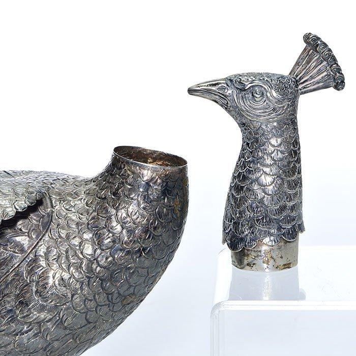 "Pr Sterling Peacock figurals,  8"" X 22"" - 5"
