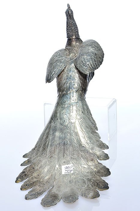 "Pr Sterling Peacock figurals,  8"" X 22"" - 6"