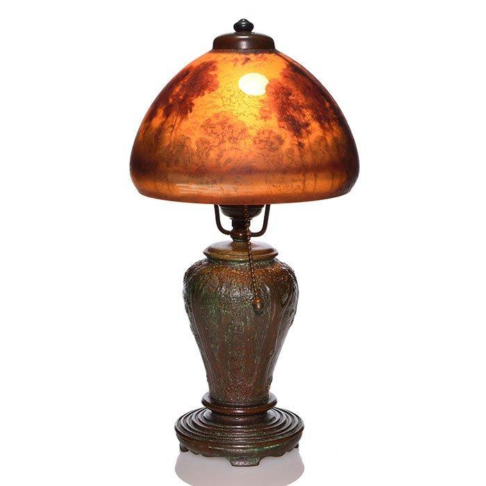 "Handel boudoir lamp, scenic shade, Palme, 6912, 14"""
