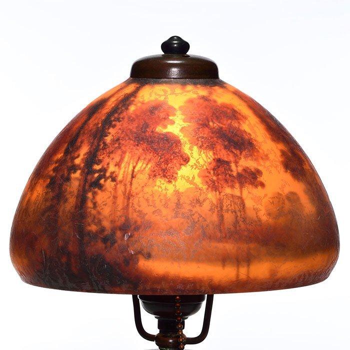 "Handel boudoir lamp, scenic shade, Palme, 6912, 14"" - 2"