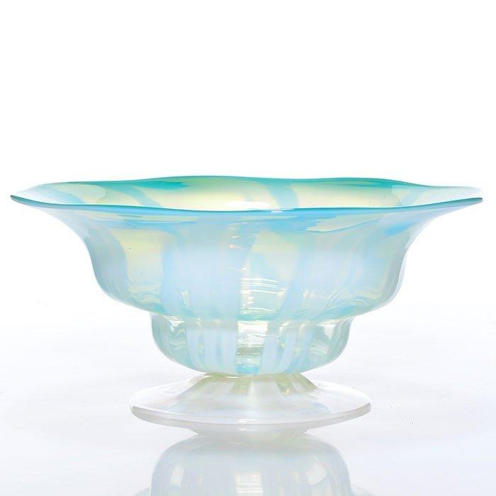 Tiffany aqua Pastel footed bowl, 2 1/4X5 1/4,