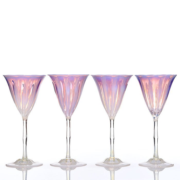 """4 Tiffany Wisteria Pastel goblets, 8 3/8"""", signed"""