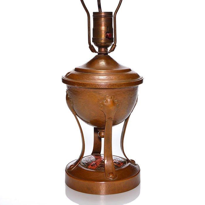 """Frank J. Marshall copper hammer lamp, 17"""", enamel"""