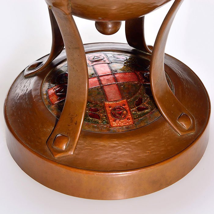 """Frank J. Marshall copper hammer lamp, 17"""", enamel - 2"""