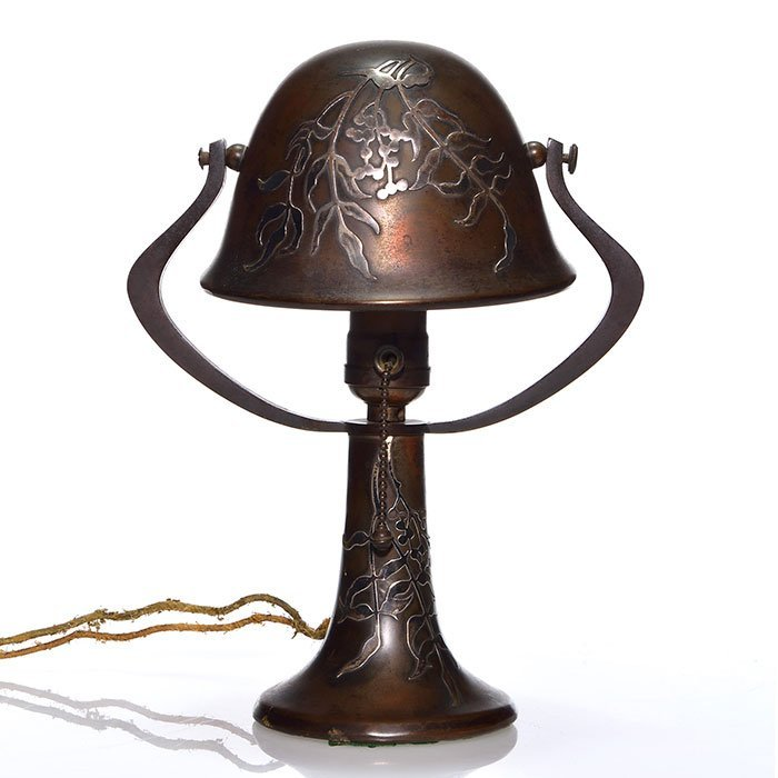 "Miniature Heintz Art Metal lamp, silver overlay, 11"""