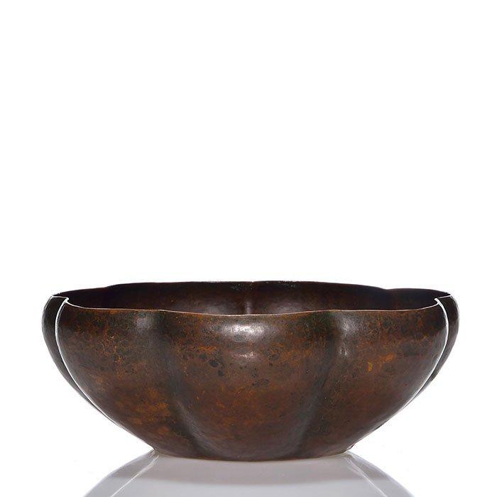 "Dirk Van Erp melon rib copper bowl, 2 1/2"", San Fran"
