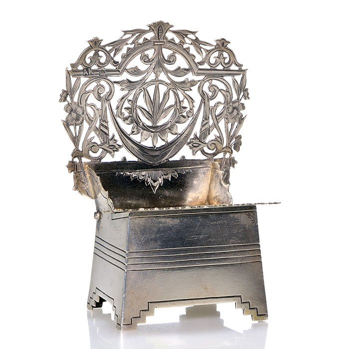 "Russian Silver Salt Throne, 4"", St. George/Dragon"