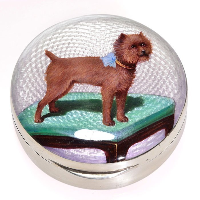 "English enamel silver box, dog/ottoman, 1 1/4"" X 3"""