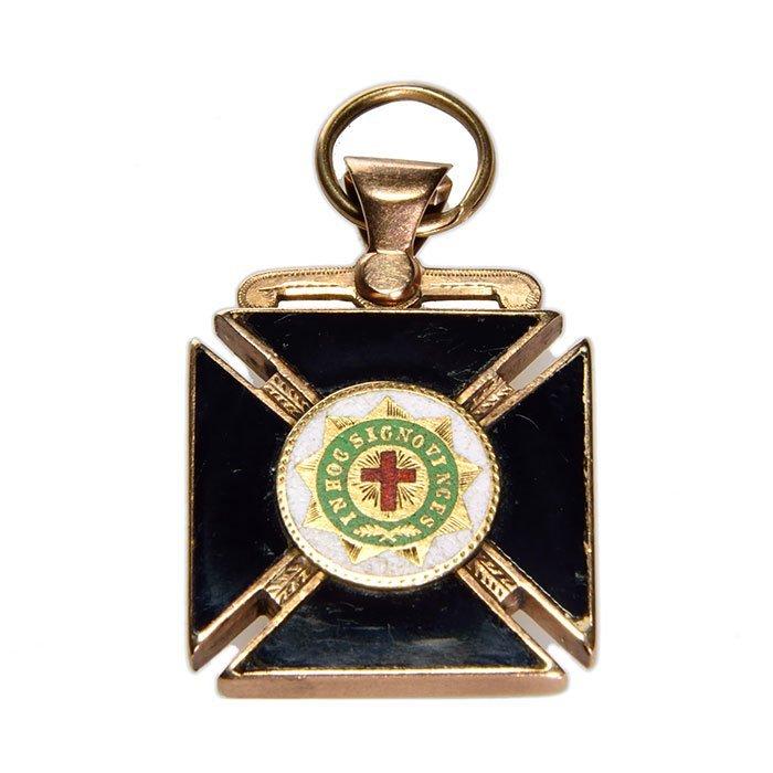 "Masonic Greek Cross fob, 14K, gold quartz, 1"" square"