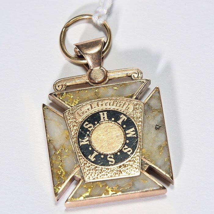 "Masonic Greek Cross fob, 14K, gold quartz, 1"" square - 2"