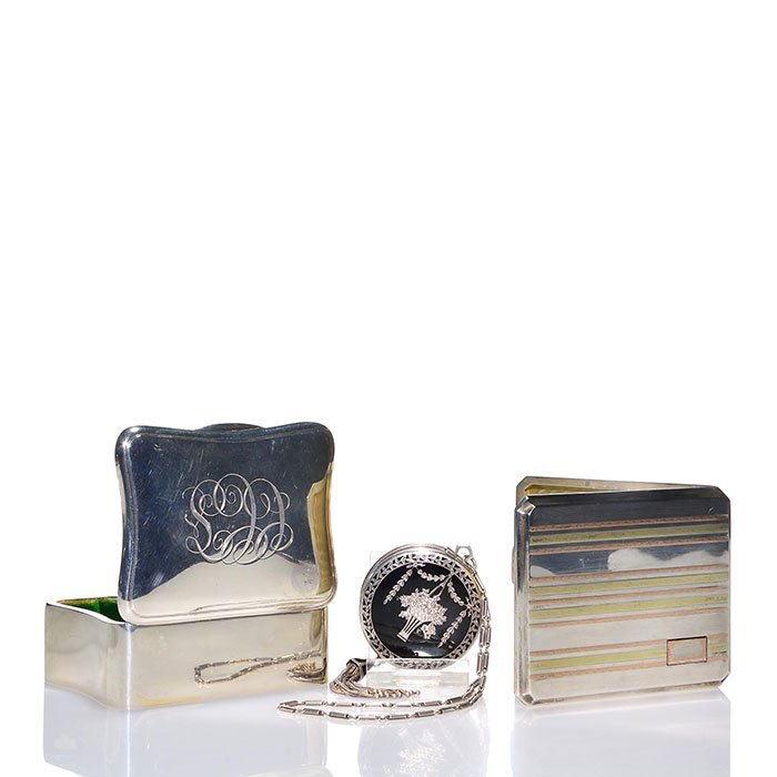 3 R. Blackinton Sterling: card holder, compact, box