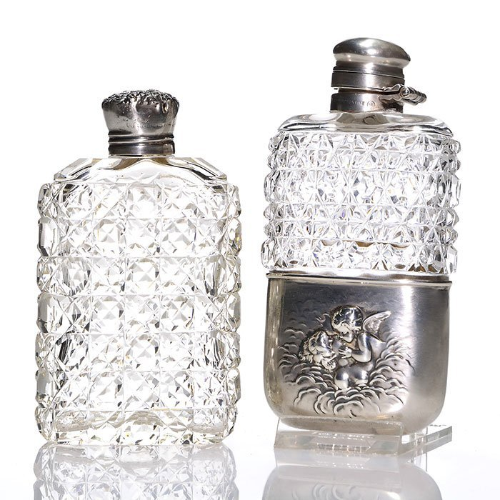 2 Unger Bros sterling cut glass flasks, 1 movable cup