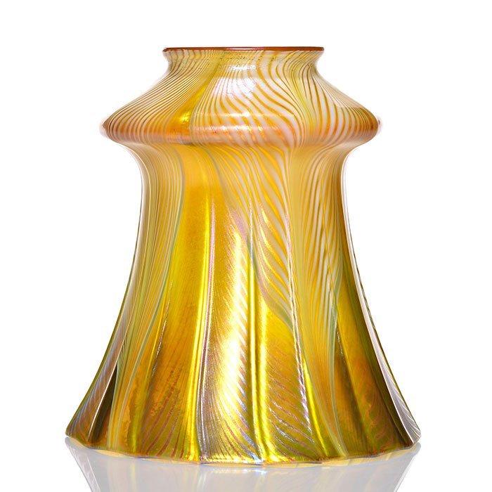 "Quezal shade, white feather drape, gold, 5 1/4"" sig"