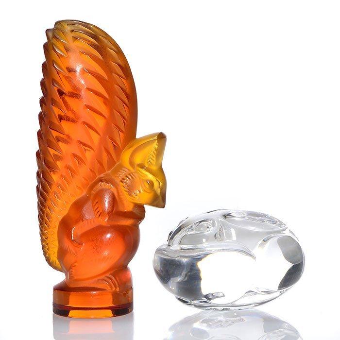 "Modern Lalique:amber squirrel,Steuben bunny, 4 3/4"""