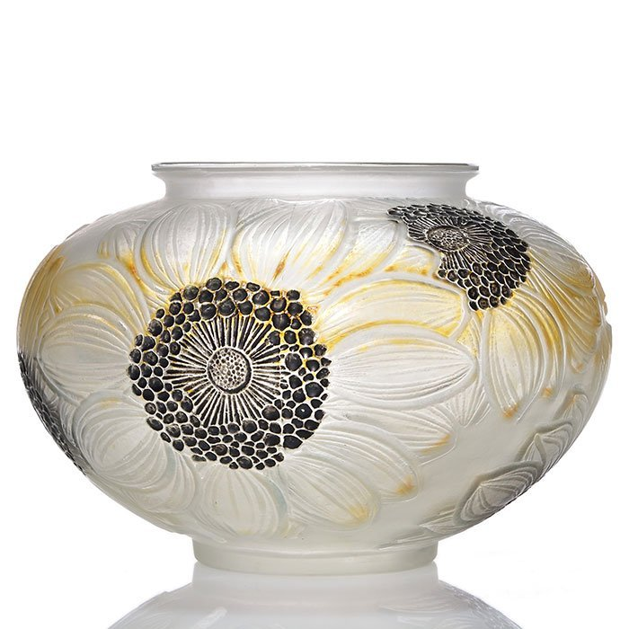 "R. Lalique Dahlias vase, 3 color, 4 3/4"" X 7 1/2"""