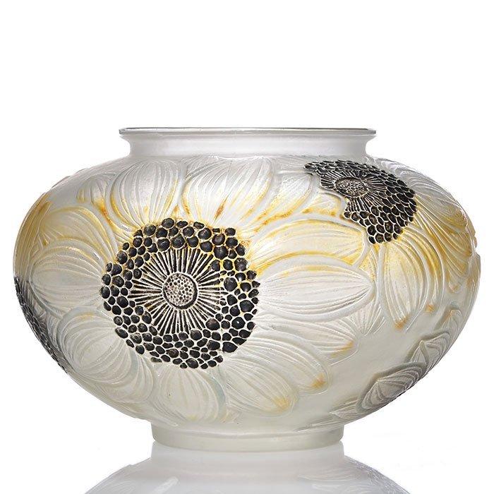 """R. Lalique Dahlias vase, 3 color, 4 3/4"""" X 7 1/2"""""""