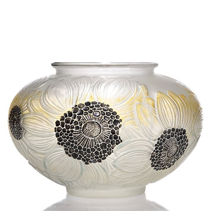 "R. Lalique Dahlias vase, 3 color, 4 3/4"" X 7 1/2"" - 2"