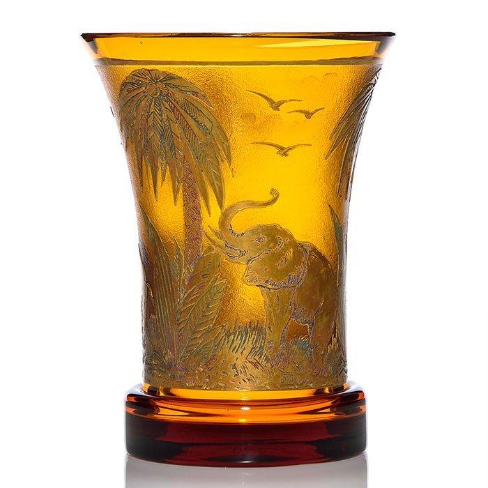 "Moser ""Animor"" Elephant vase, amber, 8"", signed"