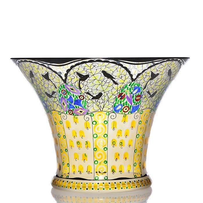 "Johann Oertel Bohemian enameled vase, birds,5 5/8"""