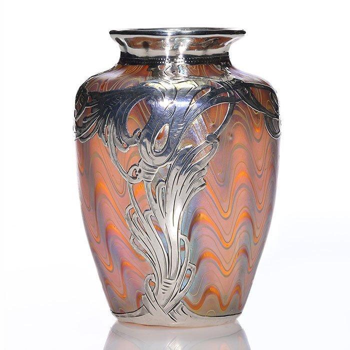 "Mini Loetz Phaenomen silver overlay vase, 3 7/8"""
