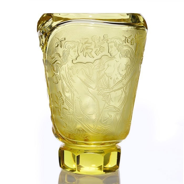 "Czech yellow vase, 3 Graces, cut/polished base, 9"""
