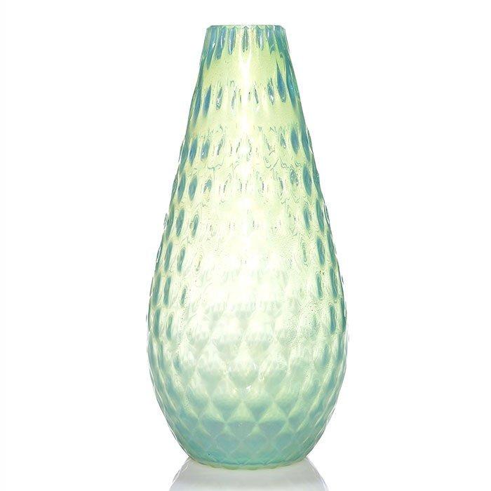 """Barovier attributed aventurine vase, quilted, 15"""""""