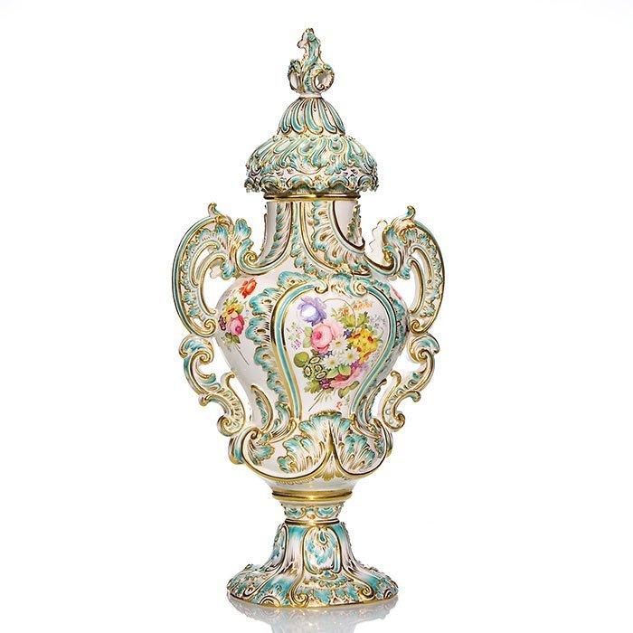 """Coalbrookdale-style porcelain bolted urn, 20 1/2"""""""