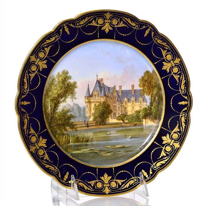 """Sevres-style plate, Ch̢teau d'Azay-le-Rideau, 9 3/8"""""""