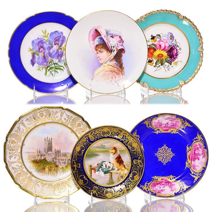 """6 assorted French/English porcelain plates, 10 1/4"""""""