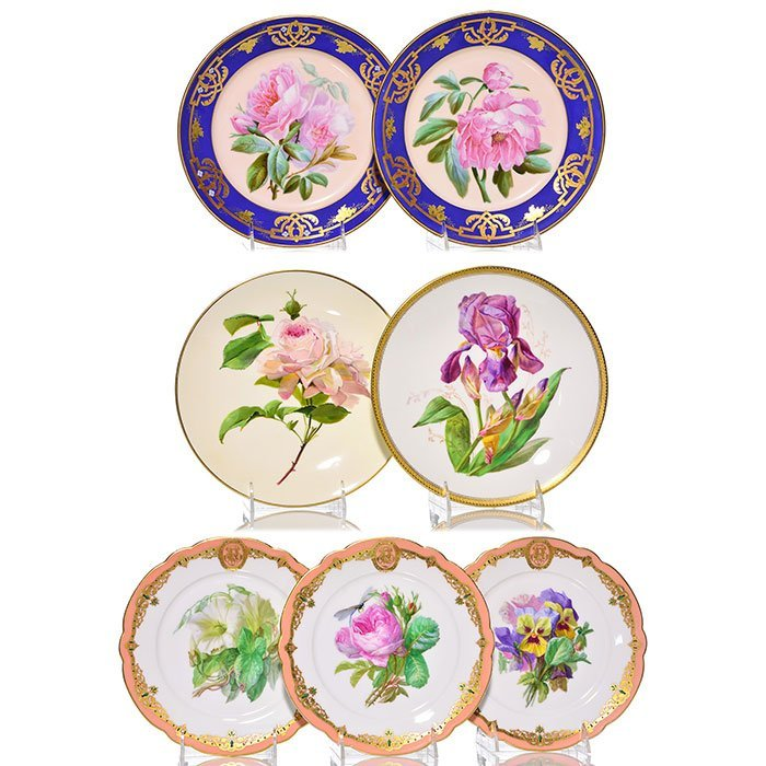 """7 French porcelain botanical plates, largest 9 1/2"""""""