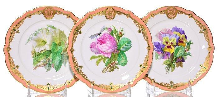 """7 French porcelain botanical plates, largest 9 1/2"""" - 4"""