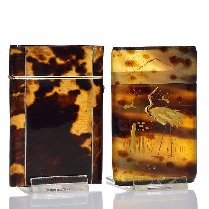 2 Tortoise Shell card cases, silver inlay, enameling