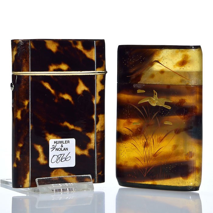 2 Tortoise Shell card cases, silver inlay, enameling - 2