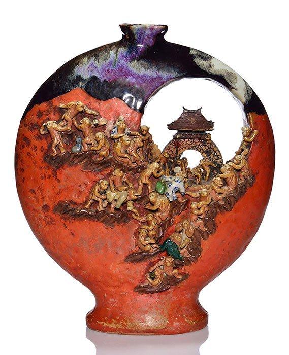 """Large Sumida Gawa vase, dozens of monkeys, 17"""""""