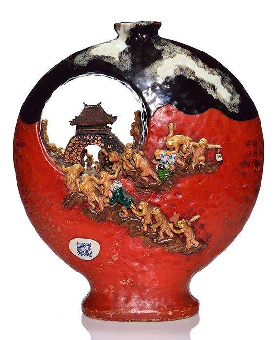 """Large Sumida Gawa vase, dozens of monkeys, 17"""" - 2"""