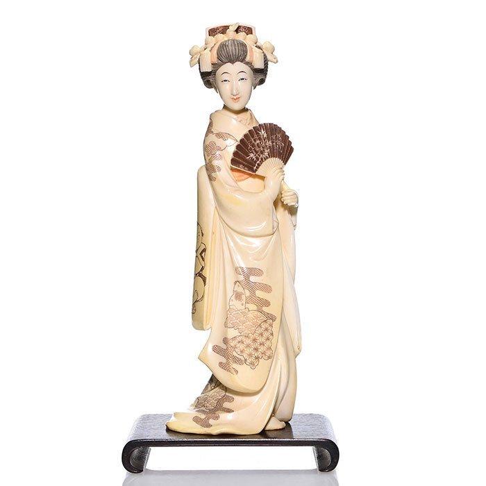 """Ivory Japanese elegant maiden, 12 1/2"""",signed"""