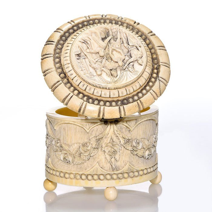 """Carved Ivory round box,Knighthood ritual,3 1/2"""""""