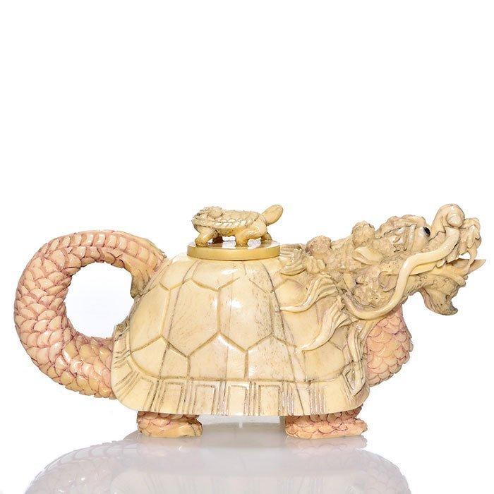 "Carved bone Turtle Dragon scent box, 6 1/2"""