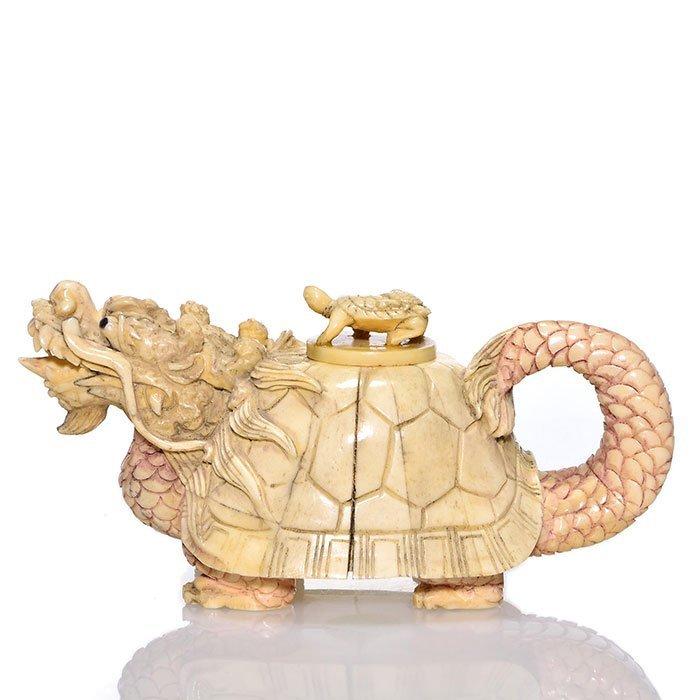 "Carved bone Turtle Dragon scent box, 6 1/2"" - 2"
