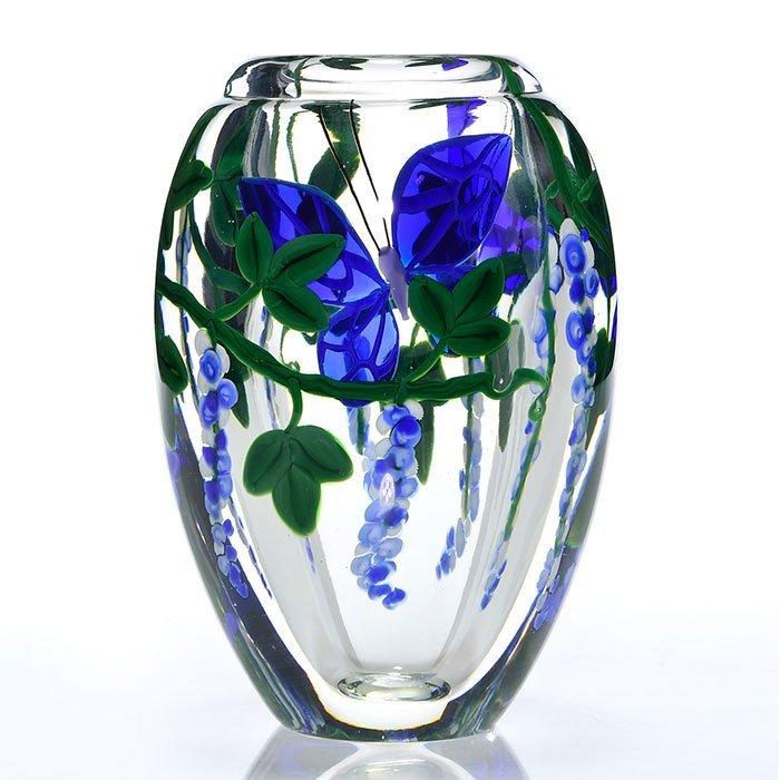 "Steven Lundberg vase, butterfly, wisteria, 7 5/8"""