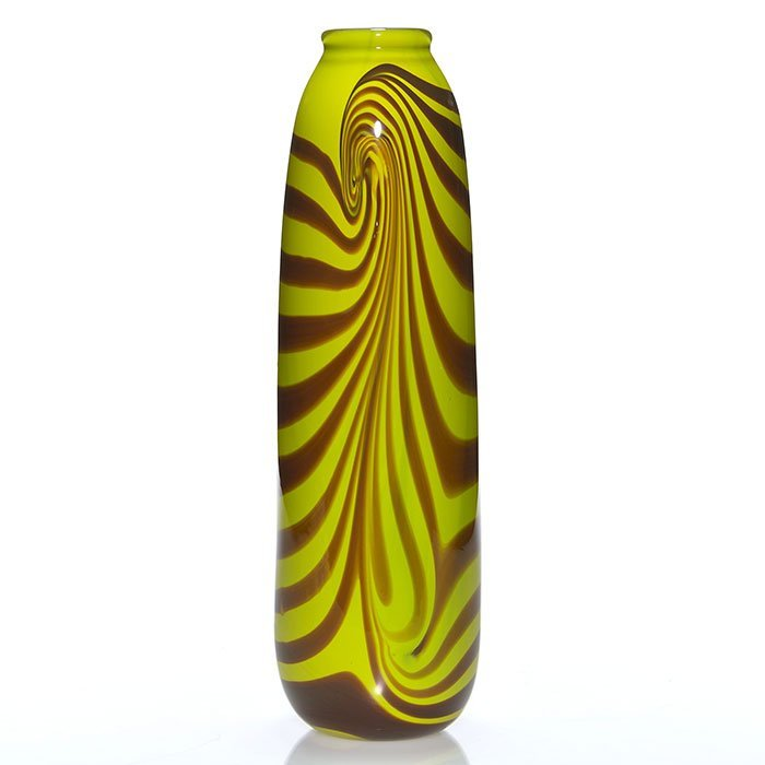 "Early Mark Peiser vase, brown/yellow, 13 1/2"", 1971"