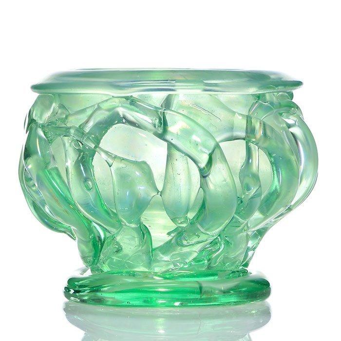 "Early Mark Peiser vase, aqua, tendrils, 5 5/8"", 1970"