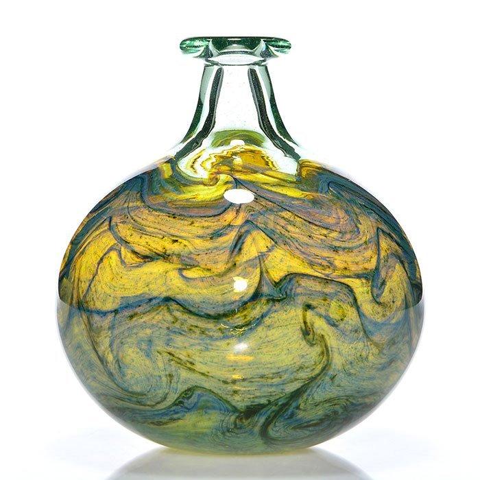"Early Mark Peiser globe vase, aqua, blue, 7"", 1974"