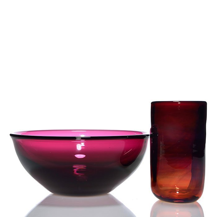 "2 Labino: 3 3/8"" amethyst bowl, 5 1/8"" rubina tumbler"