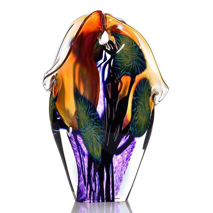 "David Lotton free form double Calla Lily vase,12 1/2"""