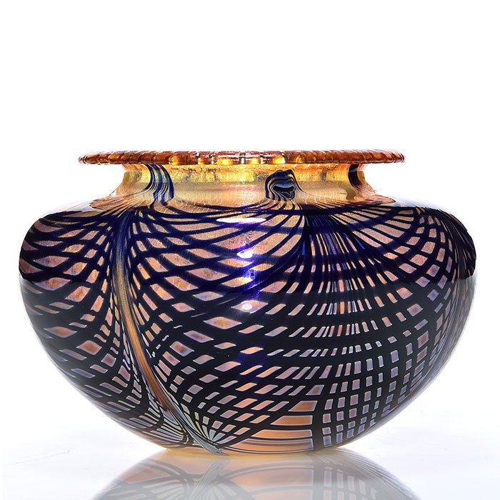 """C. Lotton Sunset Web vase, 4 7/8X8"""", 1985, signed"""