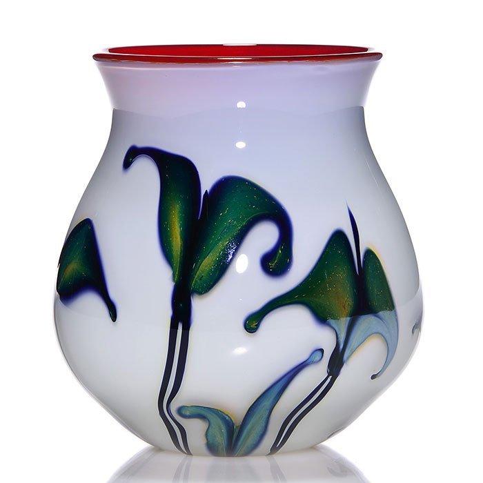C. Lotton vase, opal, split leaf, red interior, 6,