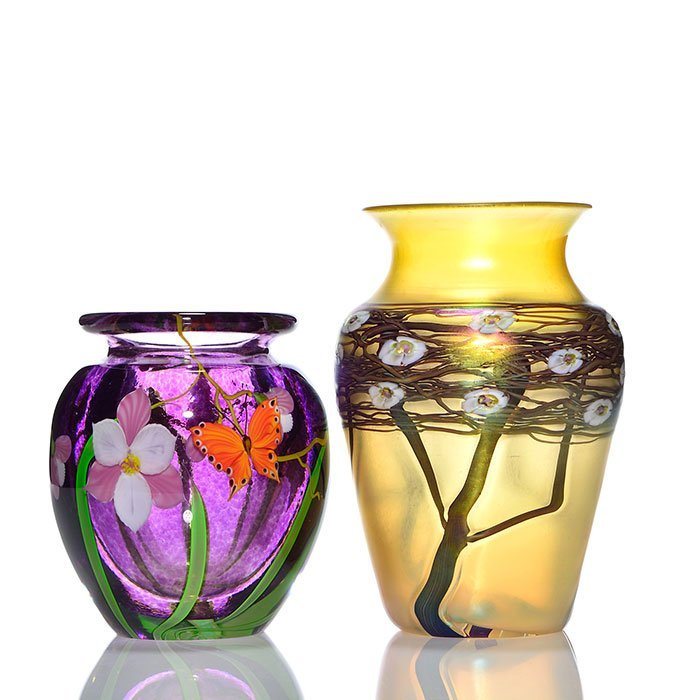 """2 vases: Mayauel Ward, 5 5/8"""" + Zelique, 7 1/2"""""""