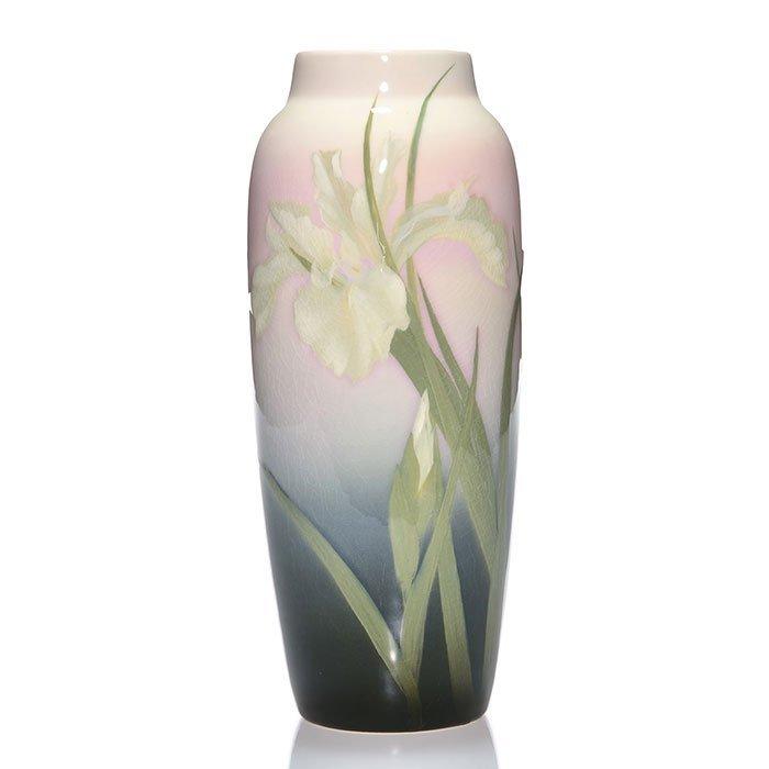 "Rookwood Iris vase, irises, Asbury, 1907, 10 1/2"""