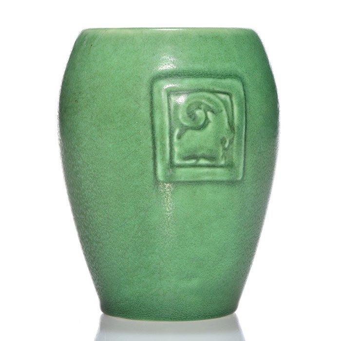 "Rookwood mat vase, Rams head, Munson, '01, 5 3/8"""
